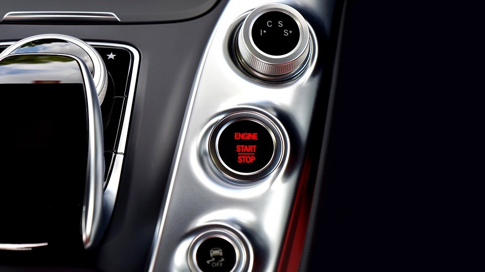 The start button of a car