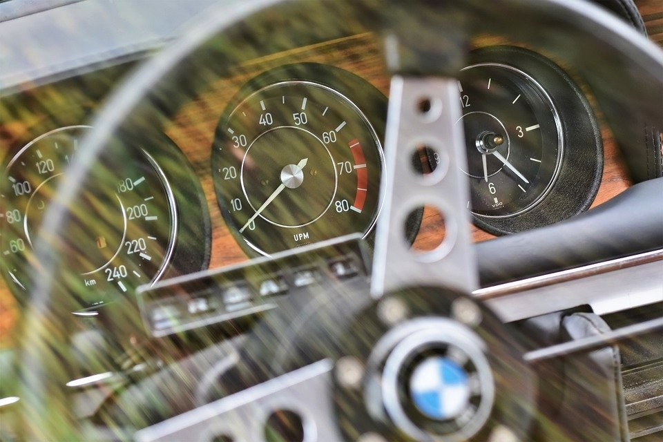 A BMW steering wheel