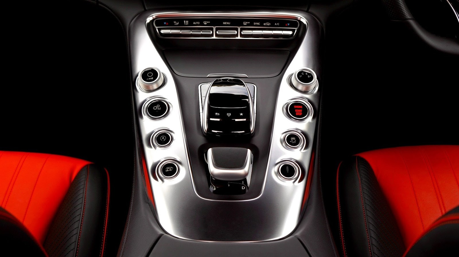 the red and black interior of a Mercedes