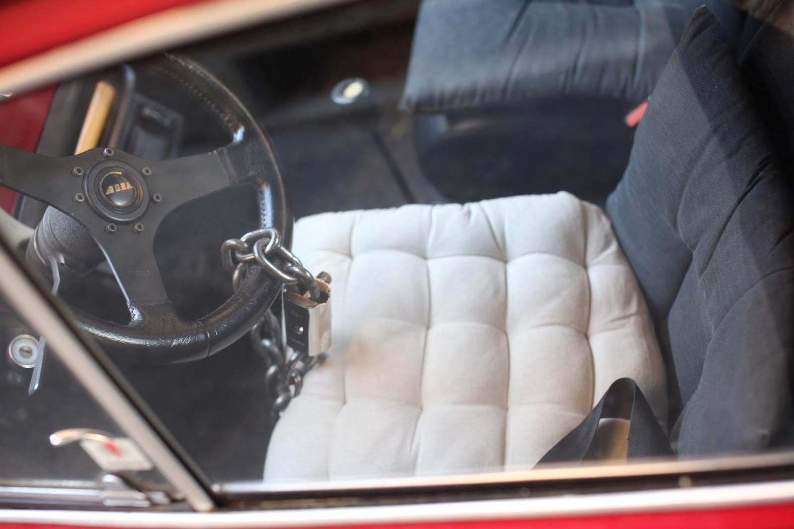 car interior with a steering wheel lock