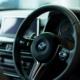 A BMW car's steering wheel